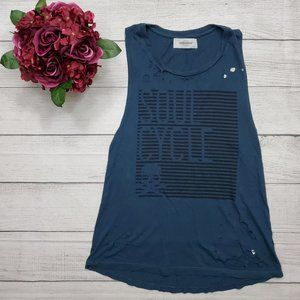 SoulCycle Deep Teal Muscle Tank Skull Holes XS